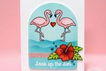 Tropical Paradise / Sunny Studio Stamps Tropical Paradise Flamingo, Hibiscus Flower and Fruity Drink themed clear photopolymer stamp set and matching steel rule dies.