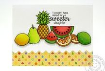 Fresh & Fruity / Sunny Studio Stamps Fresh & Fruity Fruit themed Clear Photopolymer stamp set and matching steel rule dies.