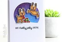 Gleeful Reindeer / Sharing Holiday Christmas Cards and other paper crafts inspiration using the Gleeful Reindeer clear stamps & dies by Sunny Studio.