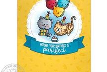 Purrfect Birthday / Sharing kitty cat themed cards and other paper crafts using the Purrfect Birthday stamps & dies by Sunny Studio.