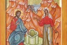 Cristo e la Samaritana / Icone di Cristo  con  la Samaritana