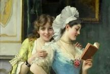 Reading a book in art A / Artworks with people reading a book