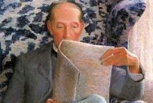 Reading a paper in art / Artworks with people reading a newspaper