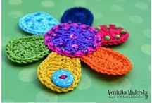 crochet flower, leaves, butterfly