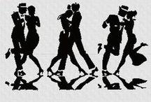 Haft krzyżykowy - taniec, muzyka