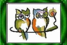 Haft krzyżykowy - sowy, sówki, sóweczki