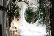 1803 Bedroom - TROPICAL GLAM / Inspiration for my new bedroom in Brooklyn. Inspired by M.I.A, Josephine Baker, Miami, and vintage tropical foliage wallpaper... and more.