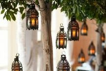 Lights! Candles! Action! / Rustic Candles and Outdoor Italian String Bulb Lighting