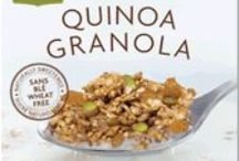 """Quinoa Granola / You've heard the old adage: """"The best things in life are free."""" We couldn't agree more... that's why our products are dairy free, gluten free and free of artificial flavours, colours, trans fat, preservatives and refined sugar. What you'll get are all organic ingredients, protein, fibre, vitamins and minerals. And when all this goodness is combined, the result is food that you'll feel fantastic about feeding your friends and family."""