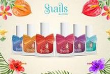 """Snails ALOHA / Summer 2016 is here and Safe 'N' Beautiful is presenting a new collection called Aloha! Inspired by tropical names, 6 beautiful shades are presented. This is aimed for girls to enjoy their nails and give them a Summer breeze. With every touch their life will be filled with colour. Waikiki is light Blue, Maui is Pink, Enjoy these summer colours along with Lava, Ukulele,Hula and Waves Aloha polishes which are """"dressed up"""" with beautiful raffia bows."""