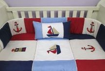 Nautical Nursery / Nautical nurseries - come sail away baby!  This theme will grow with your son - the colours are so versatile and stunning, you have so many options to choose from. We have traditional blue/red then we have a vintage nautical range as well a very soft blue & lime range.  Purchase nautical decor from markets and decor shops to accessories the room.