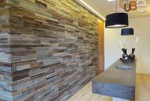 Accent Walls / Hardwood flooring does not always have to be used for the floor, we love these gorgeous accent walls!