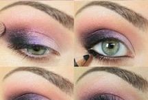 Beauty // Make-Up / Awesome make-up ideas and inspiration - bold bright colour and flattering looks for skin with a medium tone, green eyes and highlighted dark hair.