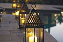 Outdoors: Garden/Pool Lights / Ideas to create both practical lighting options & the more moody & romantic lighting.
