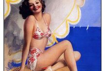 PINUPS, NOSTALGIC POSTERS & ILLUSTRATIONS / I don't know what draws me to these the most - color - composition - memories of days gone by - just love them anyway / by Granny Frannie