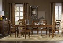"""The Tynecastle Collection by Hooker Furniture / Tynecastle combines classic Georgian architectural details with rustic timber frame elements and leather accents, creating a """"manor home to tack room"""" Hunt Country flavor."""