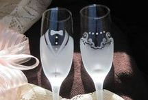 Wedding and Anniversary Gifts / Wedding decor, etched glasses and hand painted canvas for decorating or gift giving