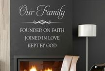 Family and Religious / Vinyl wall decals, painted canvas with a family and religious