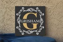 Personalized and Custom / vinyl lettering, decals, painted canvas and etched glasses all custom made and personalized