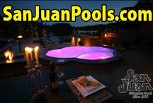 San Juan Pools at Night / Beautiful Designed Yards with San Juan Fiberglass Swimming Pools