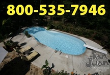 "Oasis Model by San Juan Fiberglass Pools / Oasis  Width 16' 0"" / 4.88M Length 39' 8"" / 12.09M Depth 7' 11"" / 2.41M Area 496ft2 / 46.1M2 Volume 17,950G / 67,900L"