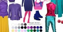 Bright Winter Fashion Sets / Fashion sets in Bright Winter - It's best to MATCH YOUR fashion under natural daylight, using YOUR 12 Tone Colour Palette Fan, as colours will vary from PC to PC and may not be true to life.