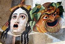 Ancient Greek and Roman Theatre / Pottery, murals, masks, theaters, sculpture, words etc related to Classical Theatre