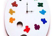 Wood work ideas for making clocks with kids / Ideoita omien kellojen tekoon teknisissä töissä alakoulussa