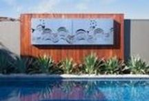 Landscapes design / Creative partnerships with landscape gardeners We've achieved spectacular results collaborating with landscape gardeners and formed some very creative relationships.  Landscape gardeners can choose from our existing range, have it resized, or we can custom make site-specific pieces. Pergolas, fire pits, outdoor furniture, privacy screens, water features, sculptures, and turning eyesores into highlights are our specialities.
