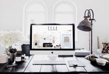 Office Workspace / Scandinavian theme, focused on its simplicity and space to be creative and artistic. Coloured accents are to be artwork and plants. Colour Scheme: white, black, grey, light wood