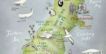 favorite illustrated maps / illustrated maps, hand drawn maps, pretty city posters