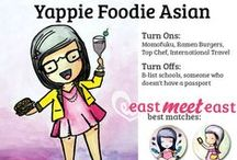 Yappie Foodie Asian / Asian and Asian-inspired food, from ramen to pork buns to dumplings! Perfect for the Yappie Foodie Asian!