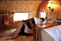 Interior World of Vintage Trailers by Sisters on the Fly / The interior of your vintage camper is a cozy world now matter what the season! In case you ever need a hid out.  / by Sisters On The Fly