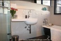 Beautiful bathrooms / Pressed metal can be used in a bathroom if there is adequate ventilation such as an extractor fan or an open window but I personally wouldn't use it in a shower recess.  Here are some lovely bathroom ideas.