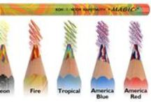 magic potloden / De magic potloden zijn dankzij de kleursamenstelling van de stift uniek. Elke stift bestaat uit drie kleuren. Daardoor ontstaan in een streep ongelofelijke effecten die een natuurlijke uitstraling hebben.