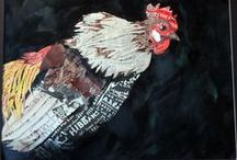 """Julie's Art / Examples of my """"Paper Chickens"""" made from poultry magazines.  Rooster Art, Gamefowl, Collage"""