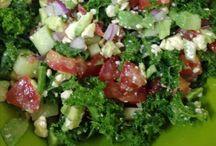 Kale Salad / Kale Red onion Tomato Cucumber Avocado Fetta cheese Lemmon juice  Olive oil Salt