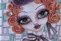 My Doll's Scrap Art Junk   / Art Journal di Bambole oppure Doll's dipinte con acrilici, pastelli colorati acquerello e mix art collage su carta