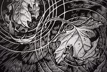 Etching, ink, B&W illustration