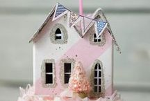 Mini Paper Houses / Paper houses, village houses, putz glitter houses. This board is all about mini paper houses.
