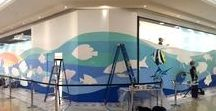 Karrinyup | Ocean Wall Mural / Visit our beautiful Ocean Wall mural on the Ground Floor near Cotton On and Australian Geographic, painted by local artists Linzi Carter and Sim Campbell-Pope.  A big thank you to all our talented Kids Club members who assisted in painting their very own fish and bringing this mural to life. Paint brushes sponsored by Riot Art & Craft.