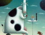 Whimsical Cows / whimsical art