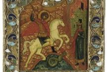 Saint George / Saint George, patron Saint of Moscow, is a very popular figure in Russian Iconography. He appears in more than 20 Icons in the Museums Collection.
