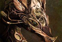 Steampunk dragons / Steampunk style dragons.