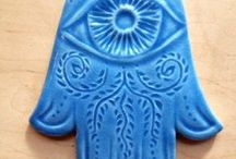 Hamsa wall hangings / Handmade ceramic Hamsas to hang on your wall. Hang them at your entry or where you dwell. Protection from the Evil Eye...good old fashioned insurance! hand of god, hand of miriam, hand of mary, hand of fatima...
