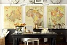 in your home / Maps are  timeless and fun to decorate with.