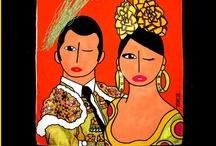 Mis Gitanas -Bolsos- / www.misgitanas.es Pinturas con Arte Flamenco Flamenco Art Paintings Bolsos diseñados y pintados a mano por Javier Torija. Handbags designed and hand painted by Javier Torija.