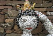Recycle Me Mosaics - garden art / Sculpture, plaques (can also be indoors), stepping stones, all suitable for the outdoors.  Visit https://www.etsy.com/uk/shop/RecycleMeMosaics for smaller items and http://www.katygalbraith.co.uk for commission work