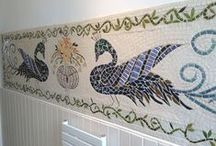 Recycle Me Mosaics - kitchen and bathroom tile panels / unique, one of a kind, wall art (splashback or backsplash) for the bathroom or kitchen, perfect for behind the aga or range cooker!