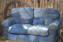 Jean recyclé / J'adore le jeans et le recycler offre plein de possibilités plutôt branchées